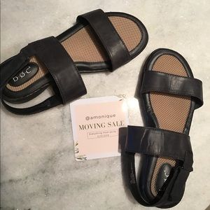 black comfy sandals